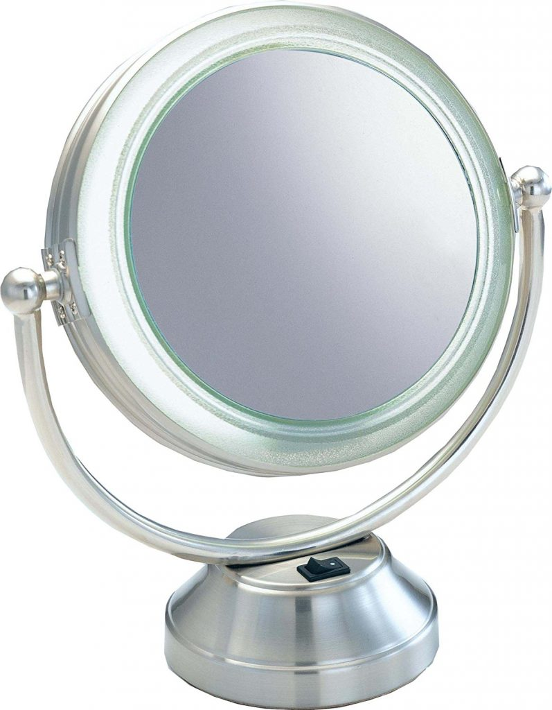 "Fluorescent CooliteTM Lighted 8 1/2"" Double Sided Swivel Vanity Cosmetic Mirror"