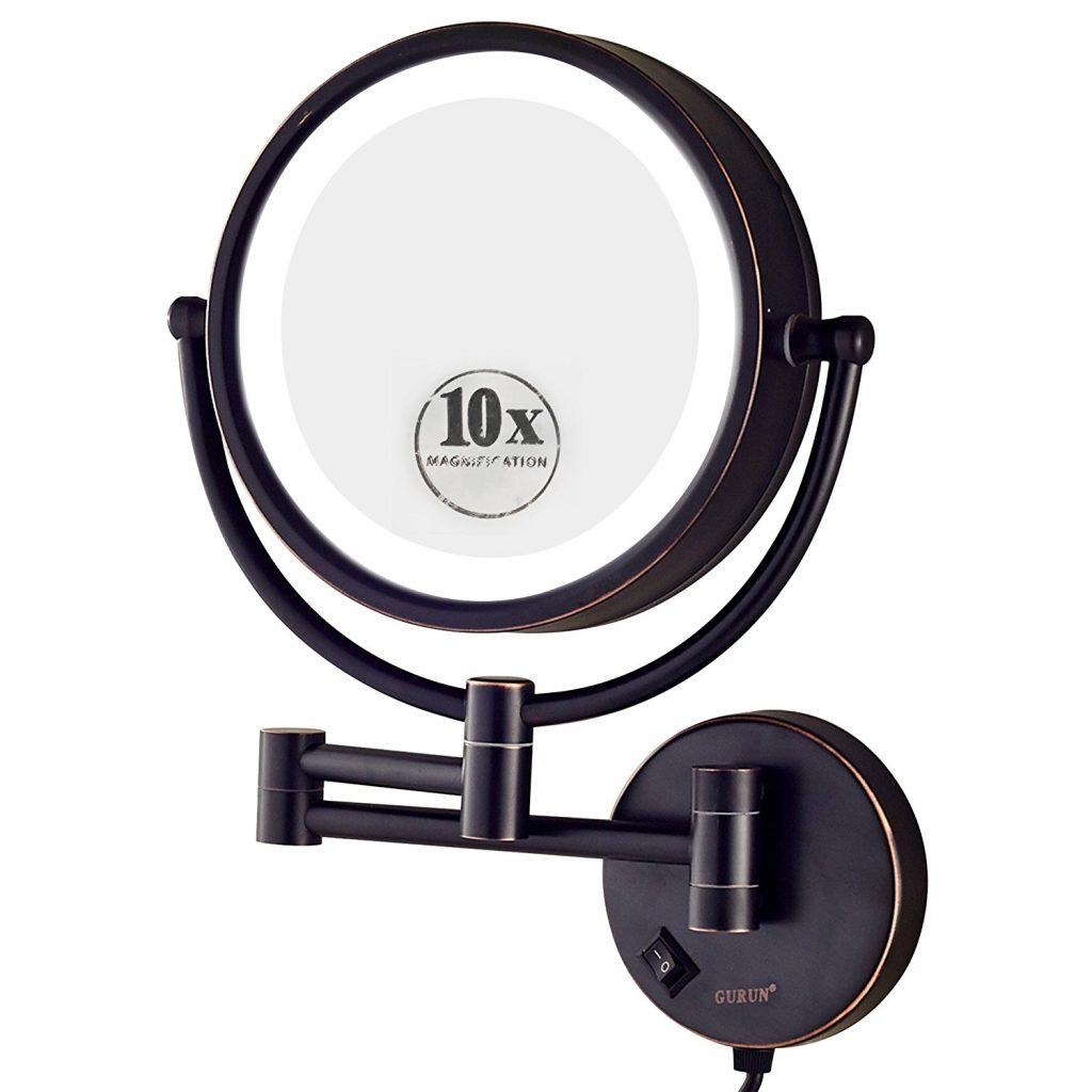 GURUN 8.5 Inch LED Lighted Wall Mount Makeup Mirror with 10x Magnification