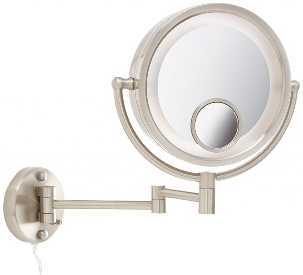 Jerdon HL8515N 8.5 Inch Lighted Wall Mount Makeup Mirror