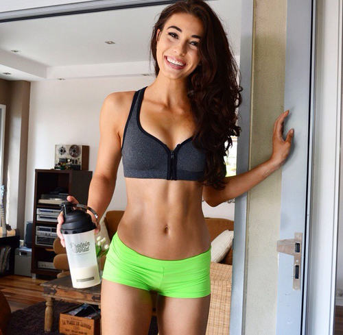 lady with protein shakes